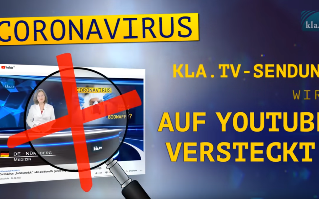 Zensur YouTube: Kla.Tv Senkrechtstarter Sendung offline